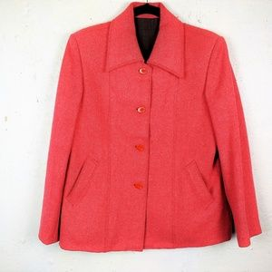 Rare Vintage Wool Blend Red Cropped PeaCoat Jacket